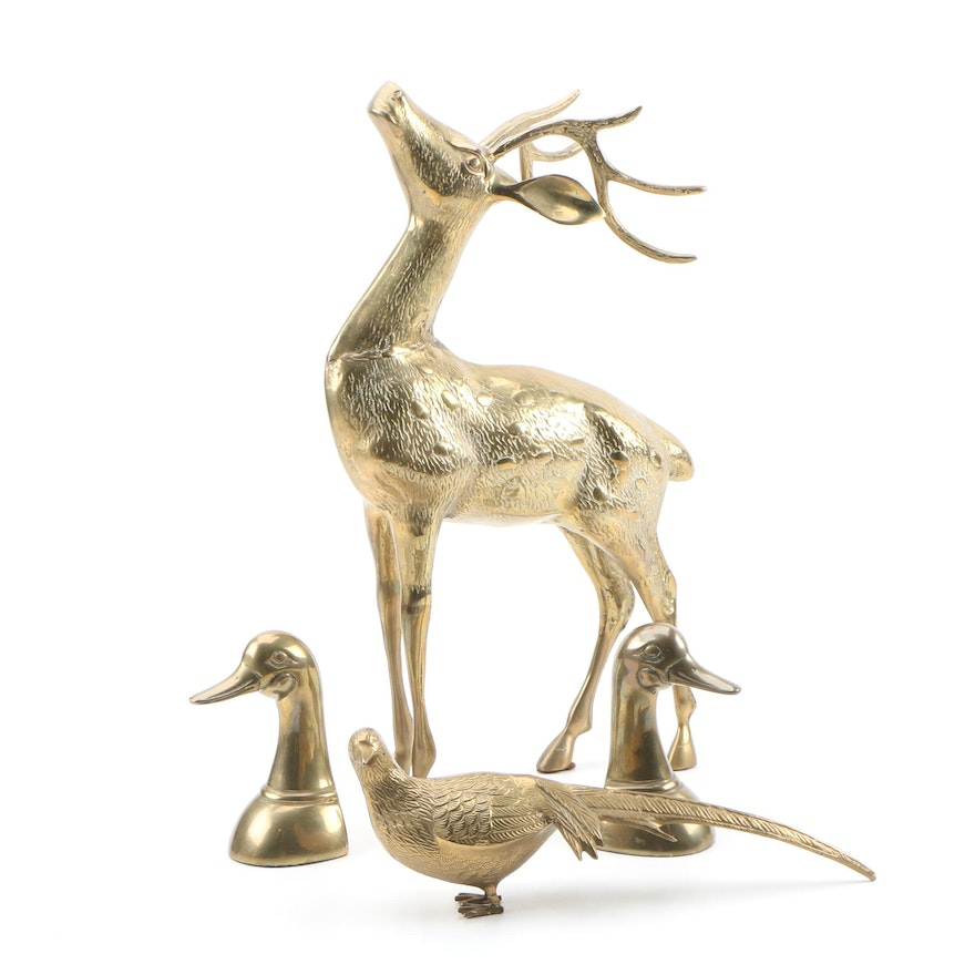 Cast Brass Duck Head Bookends and Animal Figurines