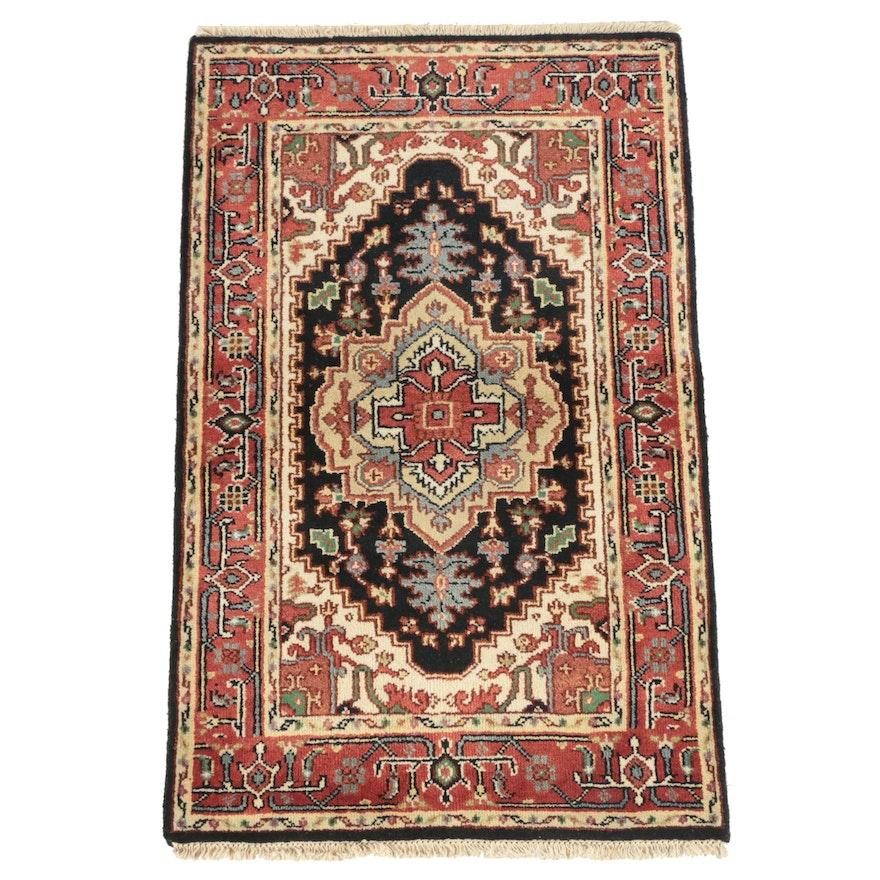 Hand-Knotted Indo-Persian Heriz Serapi Wool Area Rug