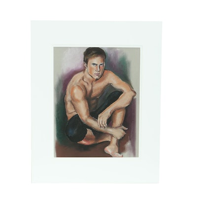 Pastel Drawing of Seated Man