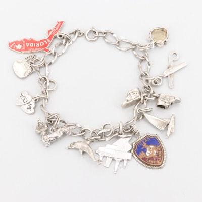 """Vintage Sterling Enamel Charm Bracelet Including Heart """"You Me"""", Music and Dog"""
