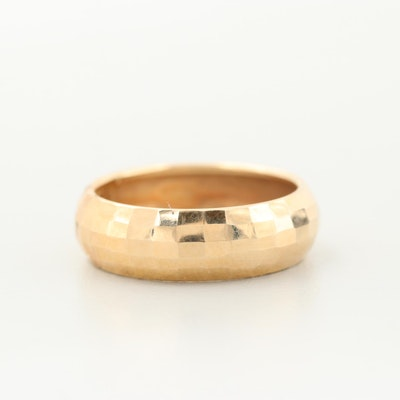 14K Yellow Gold Faceted Band
