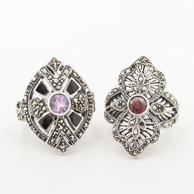 Sterling Silver Amethyst, Garnet and Marcasite Rings
