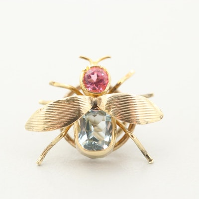 14K Yellow Gold Aquamarine and Pink Tourmaline Insect Hair Stud