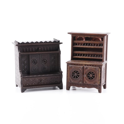 French Breton Carved Oak Doll Cabinet and Hutch, circa 1900