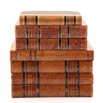 Vintage Leather Bound Swedish Fiction and Reference Books