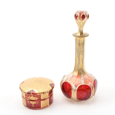 Bohemian Ruby Flashed and Gilt Glass Perfume Decanter and Powder Box