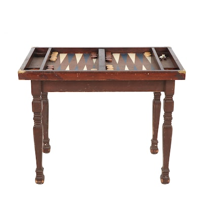 Wooden Backgammon Game Table with Game Pieces, Mid-Century