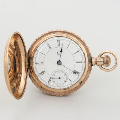 Antique Hampden 14K Gold Filled Hunter Case Pocket Watch, 1894