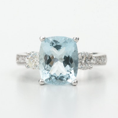18K White Gold Aquamarine and Diamond Ring