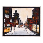 Attributed to Anna Chrasta Oil Painting of China Town Street Scene