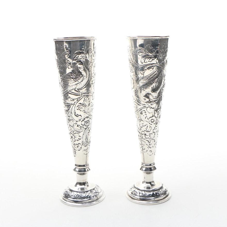 Pair of Dublin Embossed Britannia Silver Bud Vases, 1826