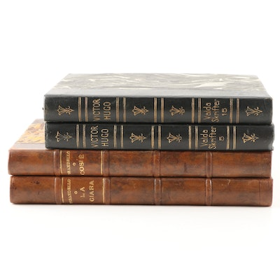 Vintage Leather Bound Books in Italian and Swedish