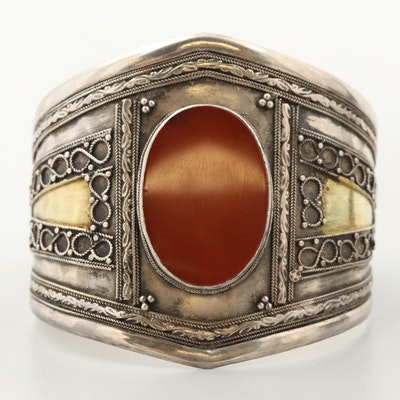 Sterling Silver Carnelian Cuff Bracelet with Gold Wash Accents