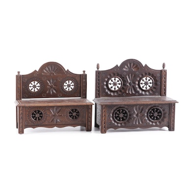 French Breton Carved Oak Doll Storage Benches, circa 1900