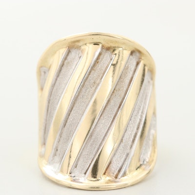 Vior Italy 14K Yellow and White Gold Saddle Style Ring