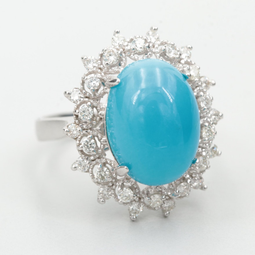 14K White Gold Turquoise and Diamond Ring