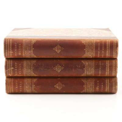 "Antique ""Dickens Works"" Three Volume Partial Set"