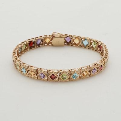 14K Yellow Gold Hinged Gemstone Bracelet