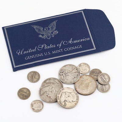 Five Silver Half Dollars and Ten Silver Dimes
