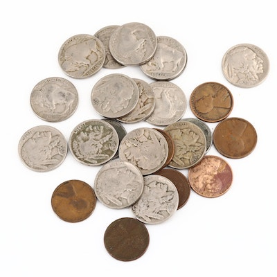 Fifteen Buffalo Nickels, a Jefferson Nickel, and Nine Lincoln Wheat Cents