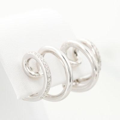Antonini 18K White Gold Diamond J-Hoop Earrings