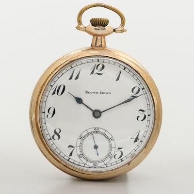 Vintage South Bend Gold Filled Open Face Pocket Watch, 1920