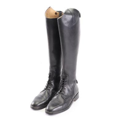 Valentini Francesco Italian Black Leather Riding Boots