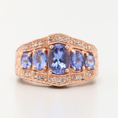 14K Rose Gold Tanzanite and Diamond Ring with Floral Motif