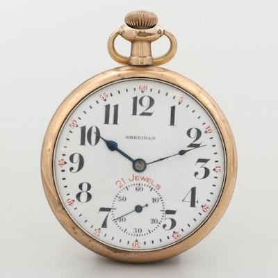 Vintage Sheridan Gold Filled Open Face Pocket Watch