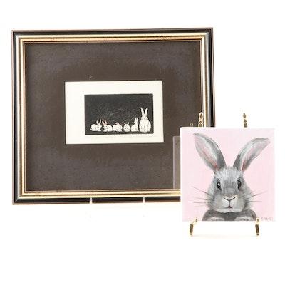 """Cheryl Brooks Werkheiser Etching and Christina Dowdy """"Rabbit"""" Painting"""