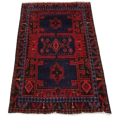 Hand-Knotted Persian Zanjan Wool Rug