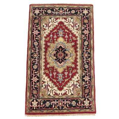 Hand-Knotted Indo-Persian Heriz Style Wool Area Rug