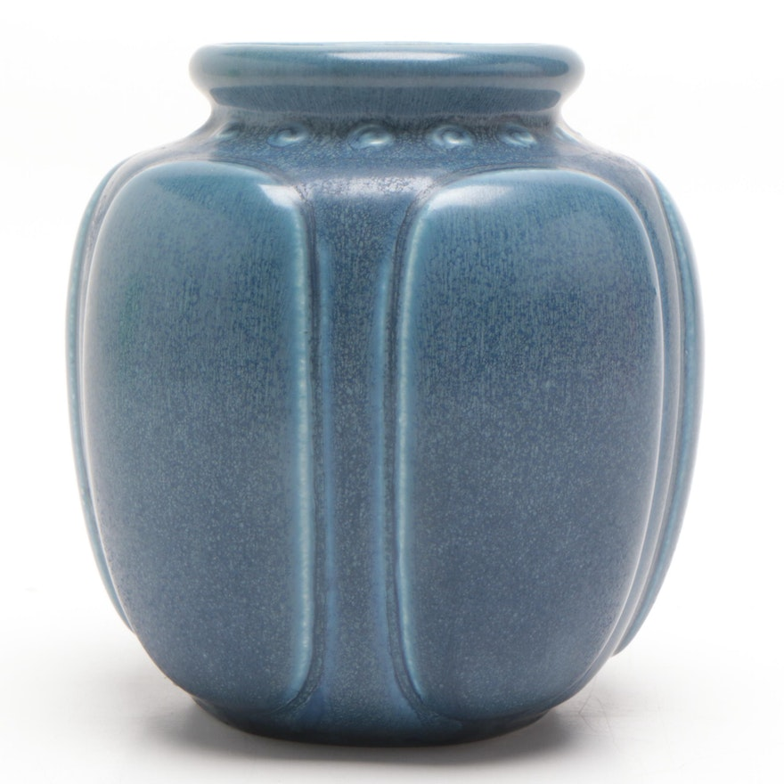 Rookwood Pottery Art Deco 50th Anniversary Vase in Matte Blue, 1930