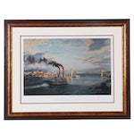 "John Stobart Offset Lithograph of River Scene ""Cincinnati"""