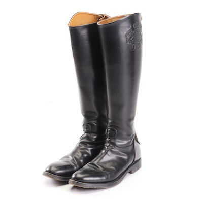 Alberto Fasciani Handmade Black Leather Riding Boots with Crest