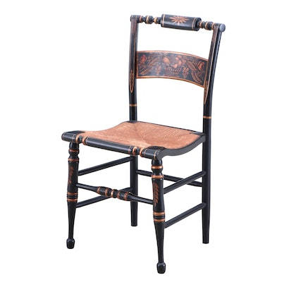 Stenciled Side Chair with Rush Seat, Mid-20th Century