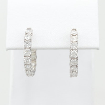 14K White Gold 2.88 CTW Diamond Inside Out Hoop Earrings