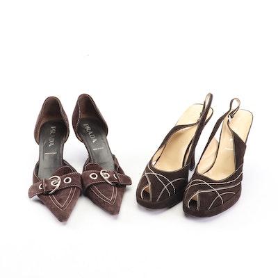 Prada Brown Suede d'Orsay Heels and Peep-Toe High Heel Slingbacks