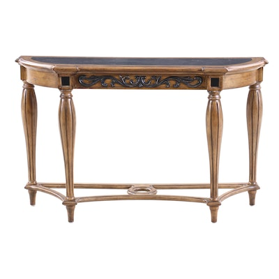 Kenwood Louis XVI Style Walnut Finish Hall Table, Contemporary