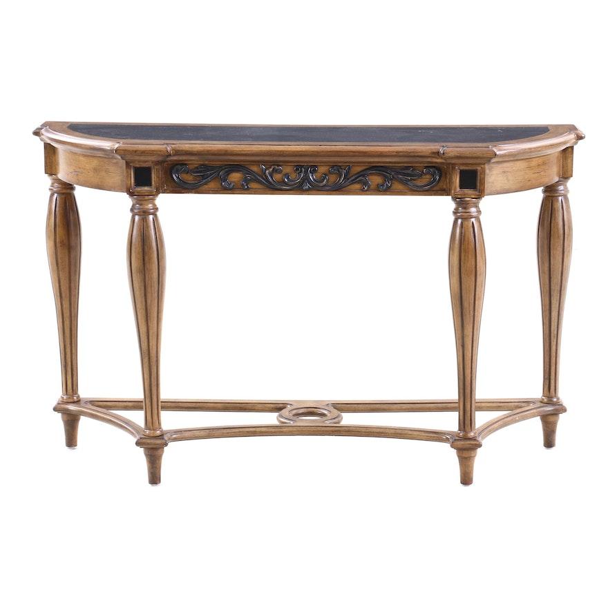 Kenwood Louis XVI Style Walnut Finish Hall Table, Contemporary