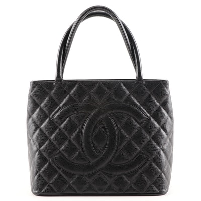 Chanel Quilted Black Caviar Leather Medallion Tote