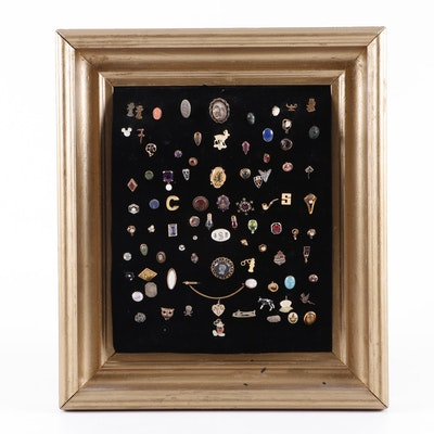 Vintage Framed Lapel Pin Assortment