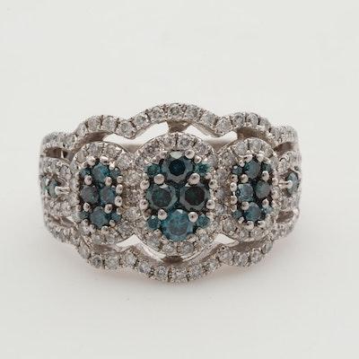 14K White Gold Diamond & Blue Diamond Ring, 1.00 CTW