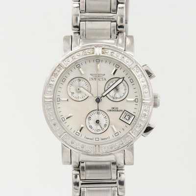 Invicta Wildflower Stainless Steel Diamond Chronograph Wristwatch