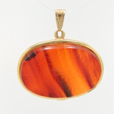 18K Yellow Gold Agate Pendant With 8K Gold Bail
