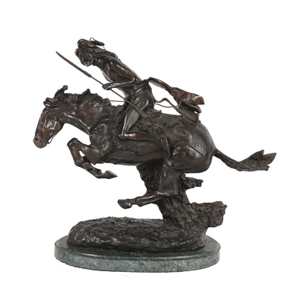 "Replica Bronze Sculpture After ""The Cheyenne"" by Fredric Remington"