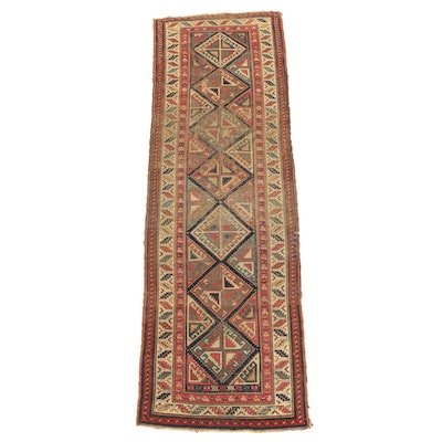 Hand-Knotted Caucasian Kazak Wool Carpet Runner