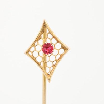 Vintage 10K Yellow Gold Glass Stick Pin