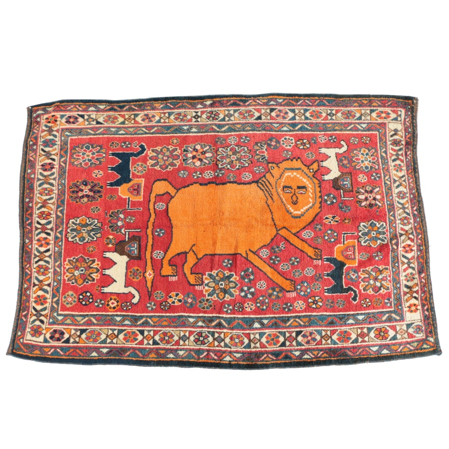 Hand-Knotted Persian Shiraz Pictorial Lion Wool Area Rug