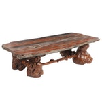 Russell-Zuhl Petrified Pine Coffee Table on Wood Burl Base, 1997
